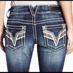 """Vigoss V sequin stud rhinestone Chelsea jeans 27"""""""